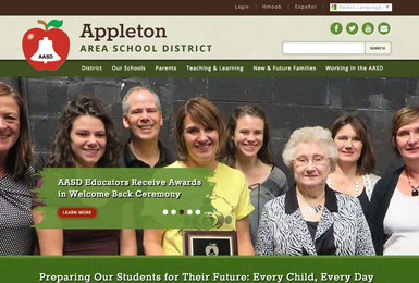 Appleton Area School District website thumbnail