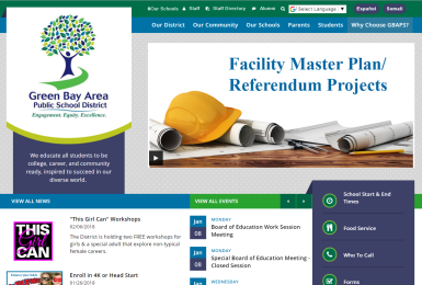 Green Bay Area Public Schools website thumbnail
