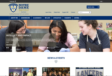 Notre Dame High School website thumbnail