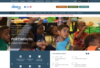 Portsmouth Public Schools website thumbnail